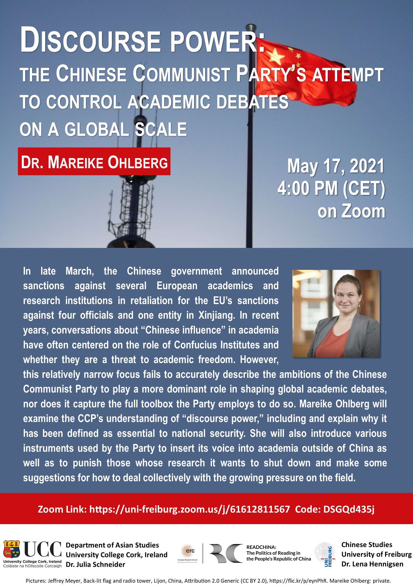 Vortrag: Discourse Power: The Chinese Communist Party's Attempt to Control Academic Debates on a Global Scale